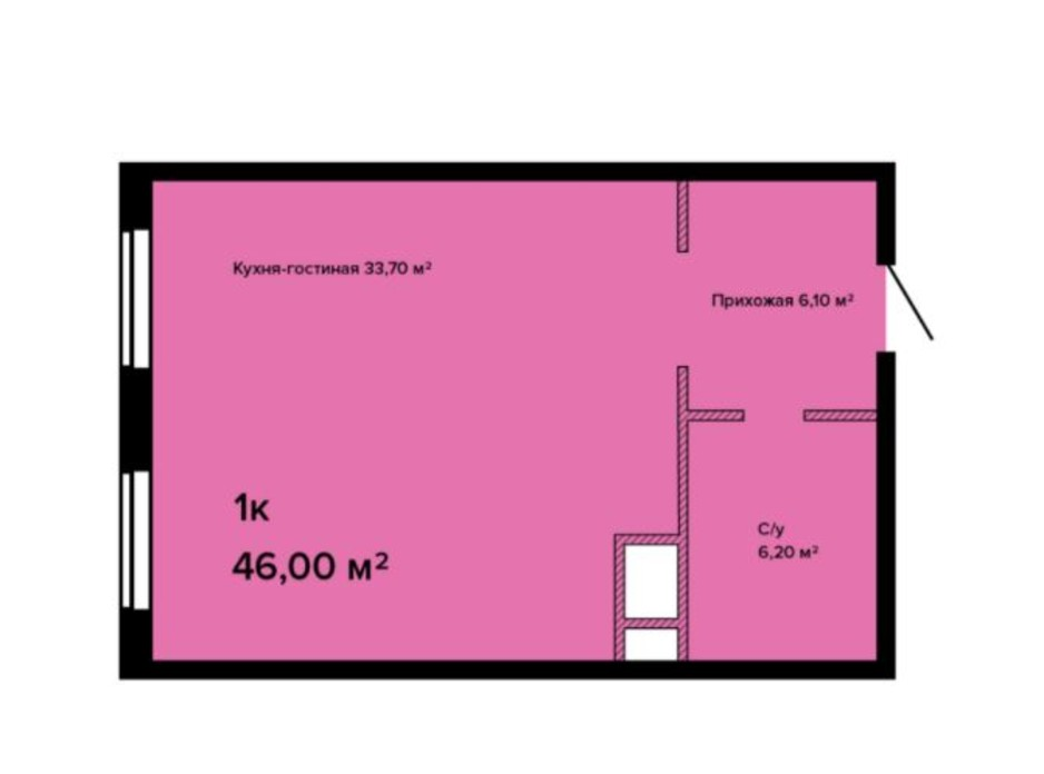 Планировка смарт квартиры в ЖК Sea View 46 м², фото 211155