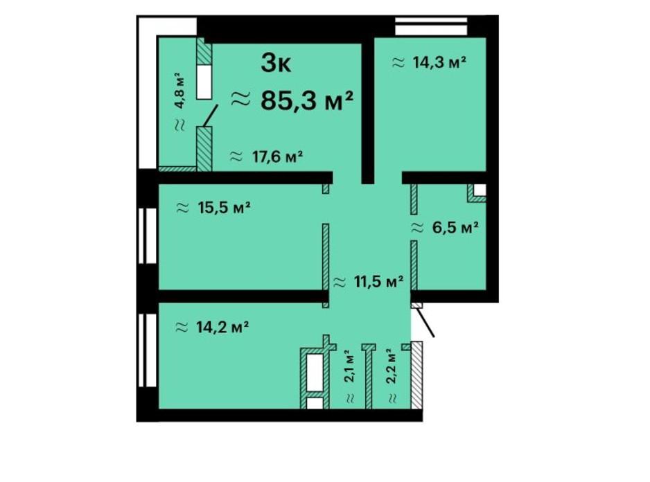 Планировка 3-комнатной квартиры в ЖК Альтаир-3 85.3 м², фото 211208