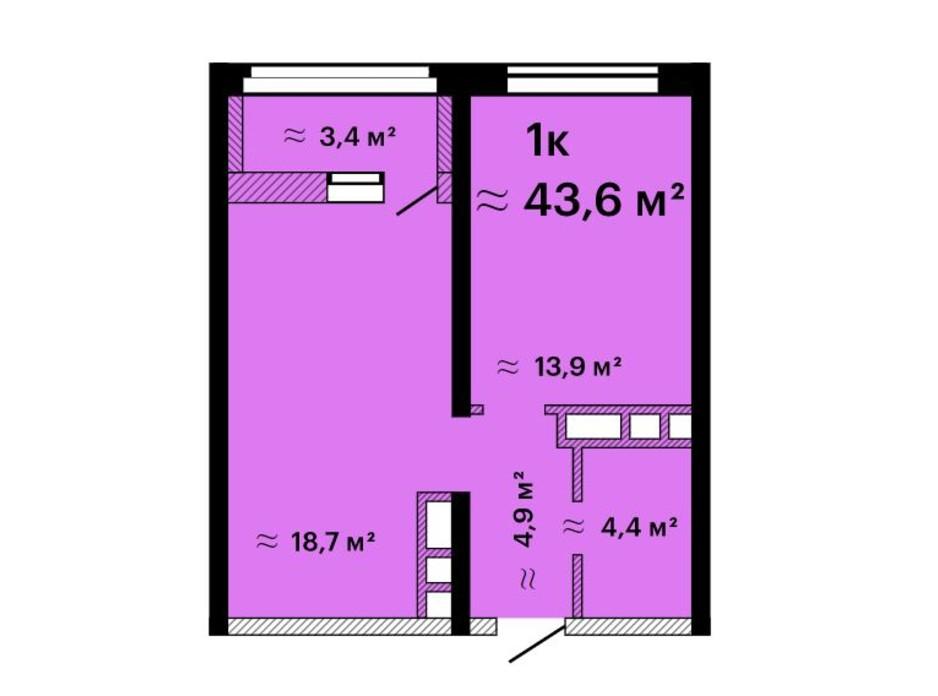 Планировка 1-комнатной квартиры в ЖК Альтаир-3 43.6 м², фото 211209