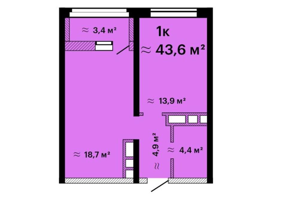 Планировка 1-комнатной квартиры в ЖК Альтаир-3 43.6 м², фото 211213