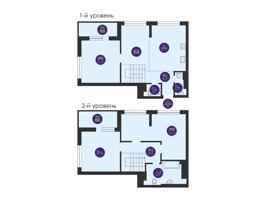 Планировка многоуровневой квартиры в ЖК Урловский-1 124.93 м², фото 211494