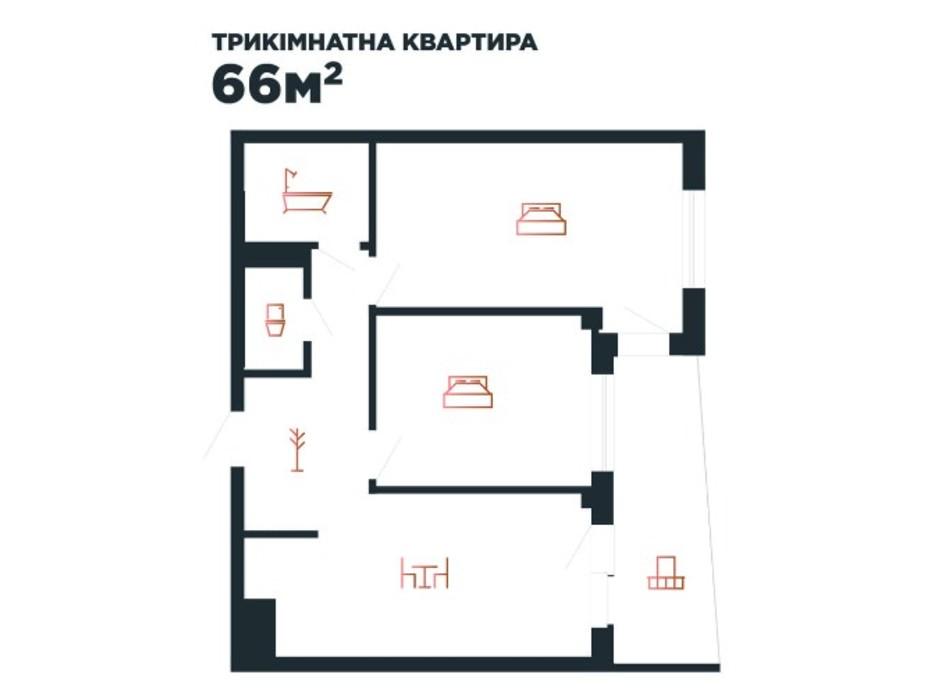 Планування 3-кімнатної квартири в ЖК Авторський 66 м², фото 211879