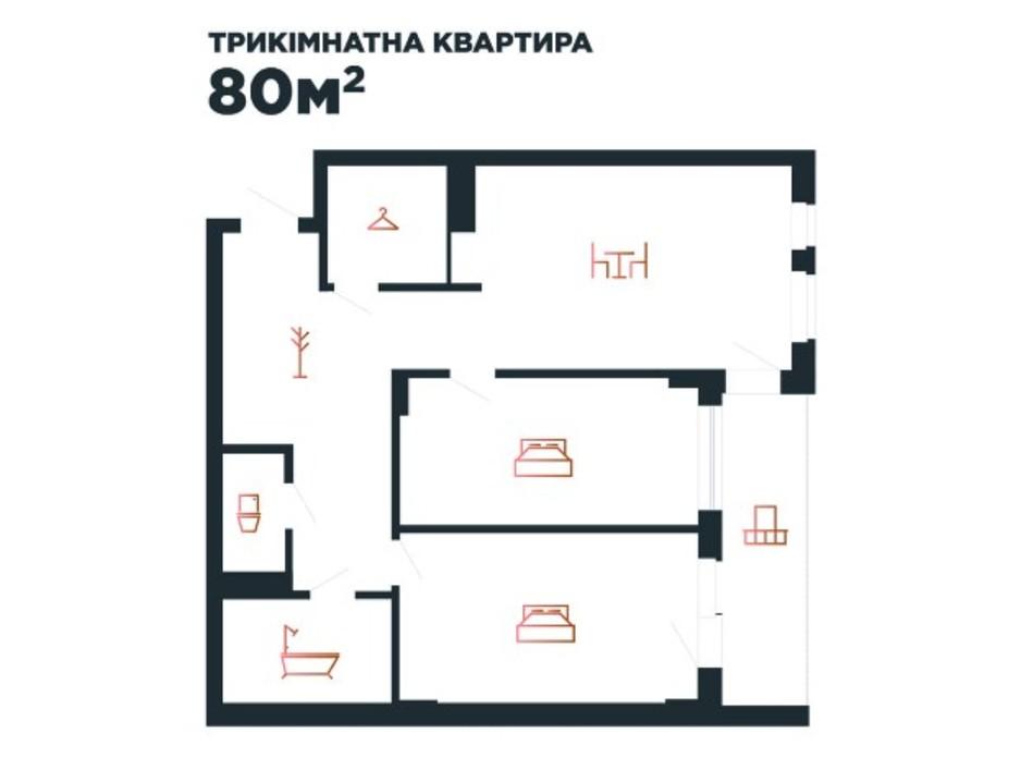 Планування 3-кімнатної квартири в ЖК Авторський 80 м², фото 211880