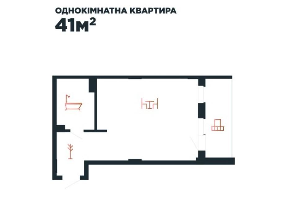 Планування 1-кімнатної квартири в ЖК Авторський 41 м², фото 211881