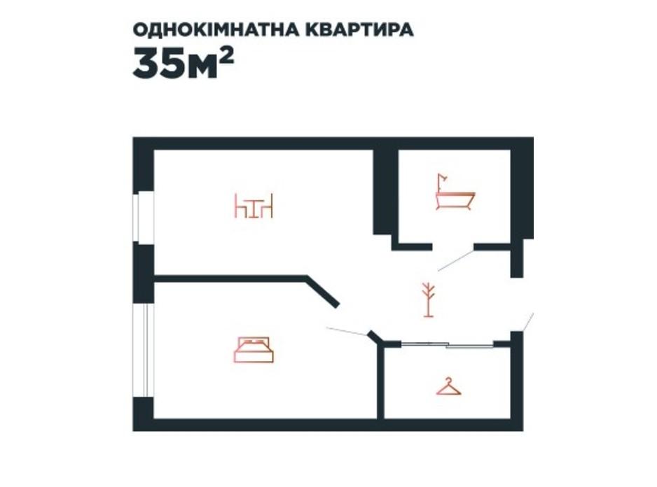 Планування 1-кімнатної квартири в ЖК Авторський 35 м², фото 211882