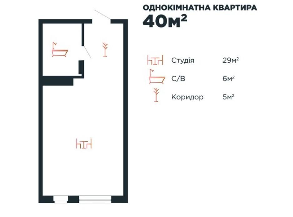 Планування 1-кімнатної квартири в ЖК Авторський 40 м², фото 211883