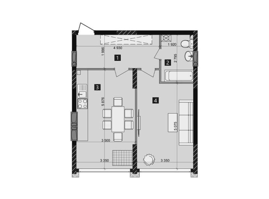 Планировка 1-комнатной квартиры в ЖК Likograd PerfectTown 50.91 м², фото 212358