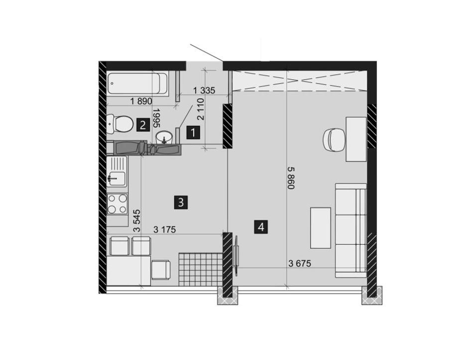 Планировка 1-комнатной квартиры в ЖК Likograd PerfectTown 37.44 м², фото 212374
