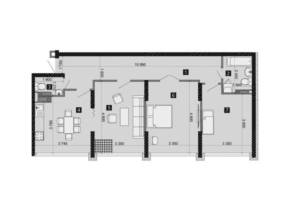 Планування 3-кімнатної квартири в ЖК Likograd PerfectTown 83.25 м², фото 212377