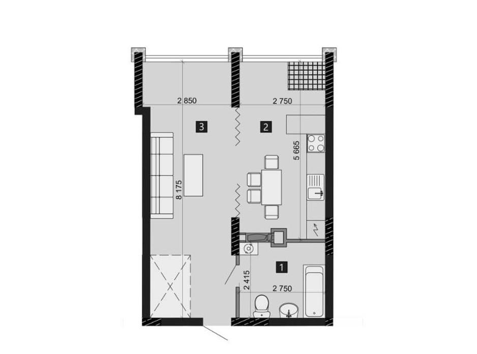 Планування 1-кімнатної квартири в ЖК Likograd PerfectTown 42.42 м², фото 212380