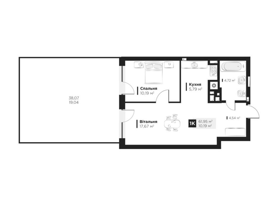 Планування 1-кімнатної квартири в ЖК Hygge 61.95 м², фото 212750