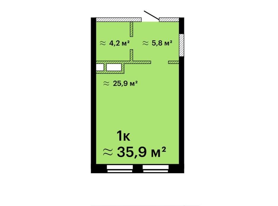 Планировка смарт квартиры в Апарт-комплекс Морская резиденция 35.9 м², фото 212775