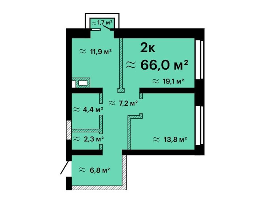Планировка 2-комнатной квартиры в Апарт-комплекс Морская резиденция 66 м², фото 212777