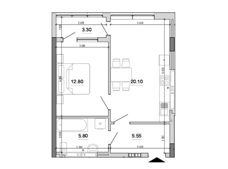 Планування 1-кімнатної квартири в ЖК Forward  47.55 м², фото 212806