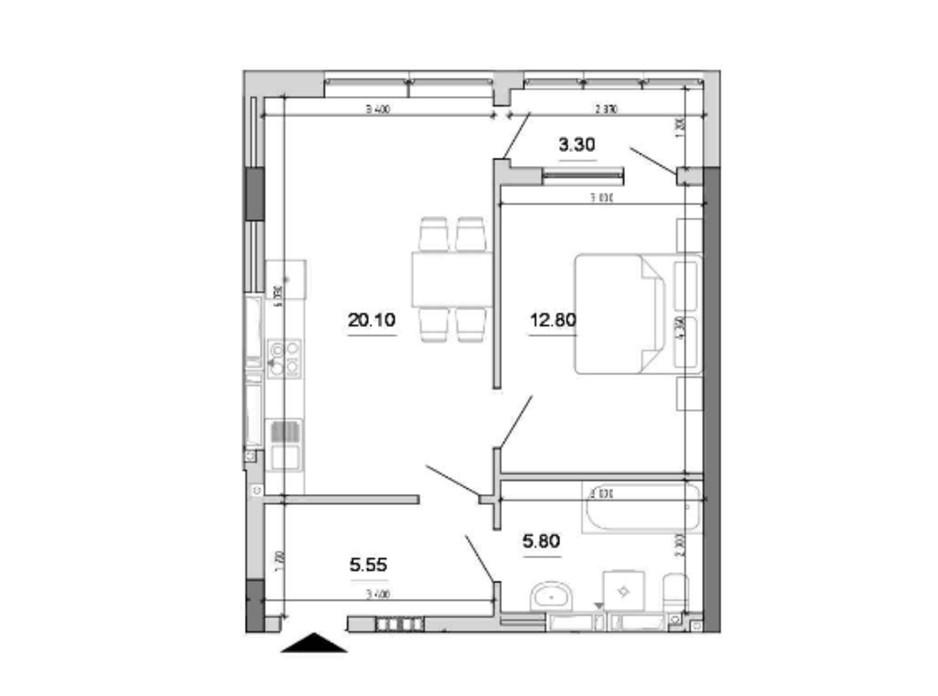 Планировка 1-комнатной квартиры в ЖК Forward 47.55 м², фото 212812