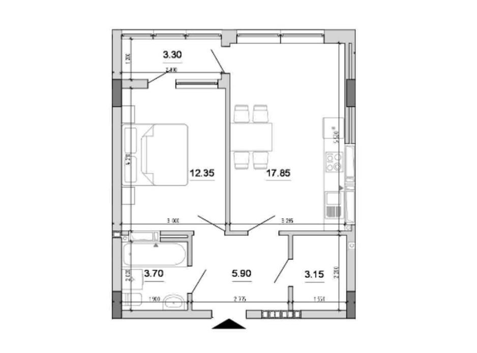 Планування 1-кімнатної квартири в ЖК Forward 46.25 м², фото 212813