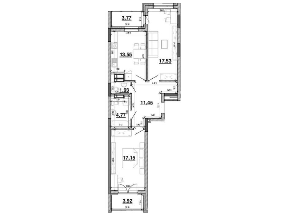 Планування 2-кімнатної квартири в ЖК Львівська Площа 74.07 м², фото 212815