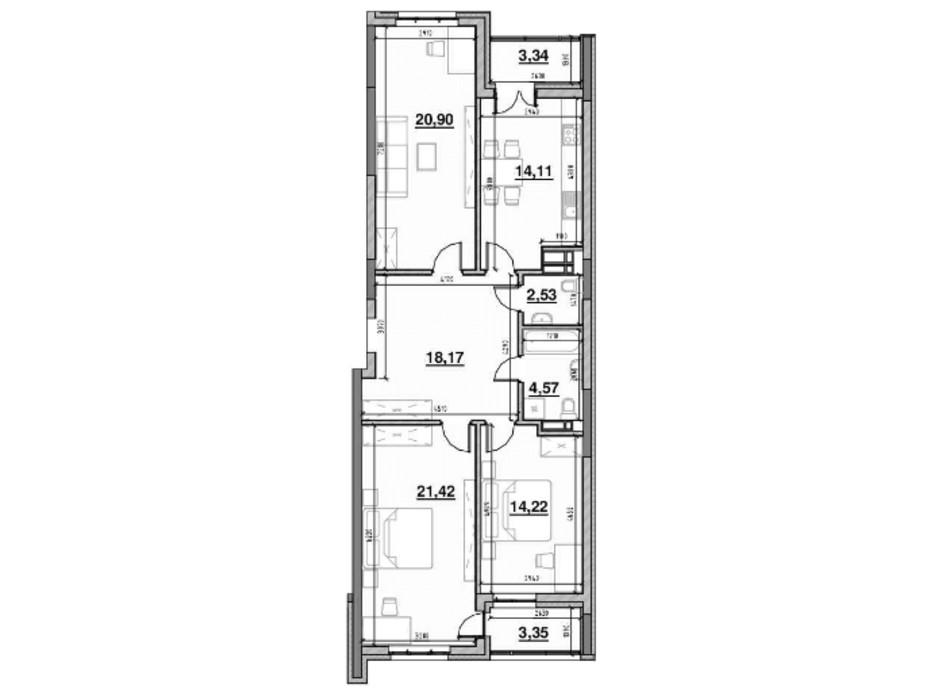 Планування 3-кімнатної квартири в ЖК Львівська Площа 102.19 м², фото 212818