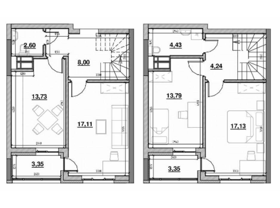 Планування багаторівневої квартири в ЖК Львівська Площа 86.42 м², фото 212820
