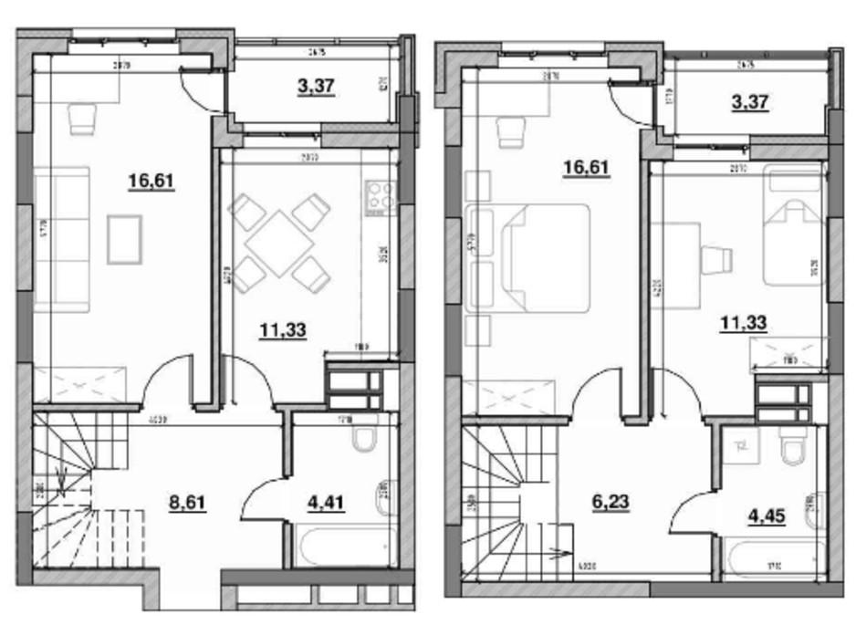 Планування багаторівневої квартири в ЖК Львівська Площа 85.97 м², фото 212821