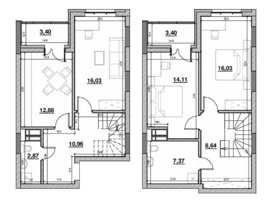 Планування багаторівневої квартири в ЖК Львівська Площа 95.18 м², фото 212822