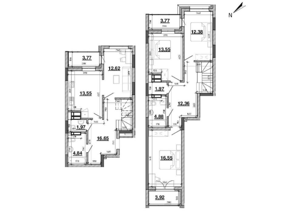 Планування багаторівневої квартири в ЖК Львівська Площа 122.78 м², фото 212827