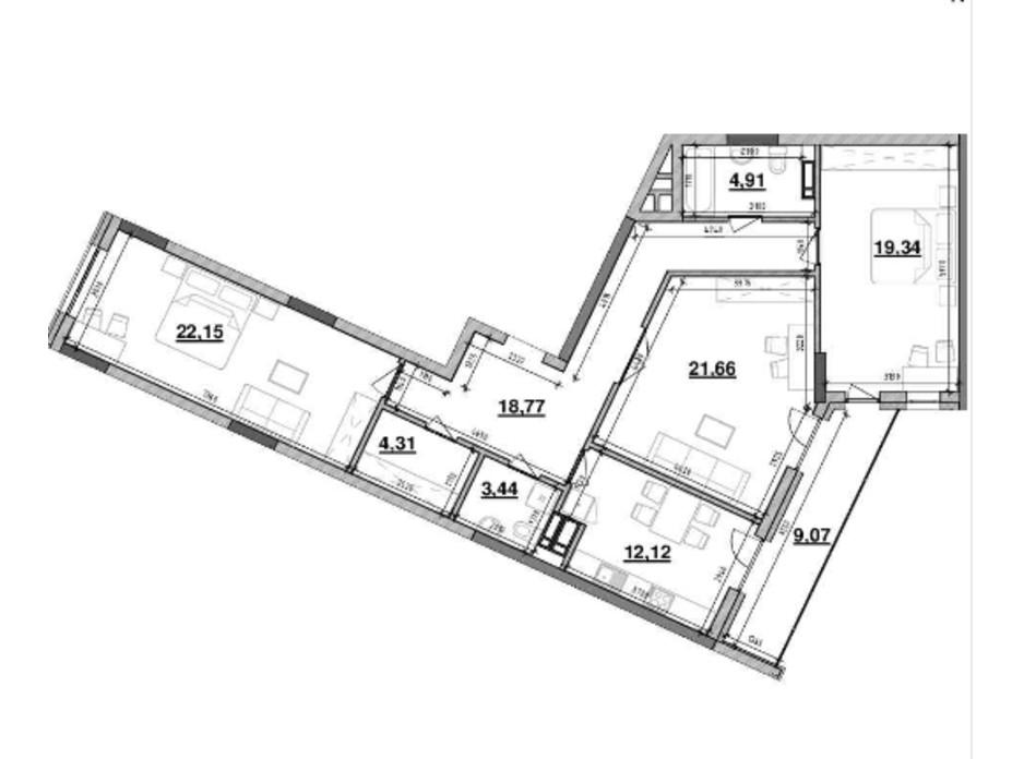 Планування 3-кімнатної квартири в ЖК Львівська Площа 115.77 м², фото 212828