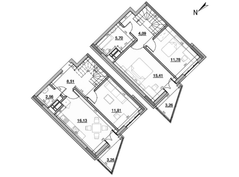 Планування багаторівневої квартири в ЖК Львівська Площа 83.12 м², фото 212831