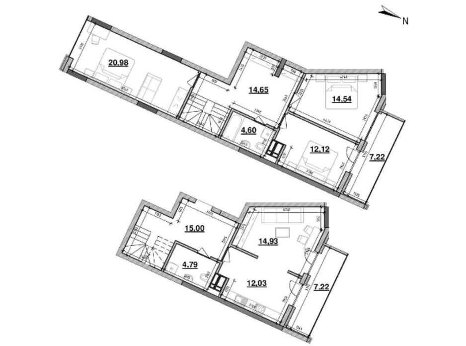 Планування багаторівневої квартири в ЖК Львівська Площа 124.47 м², фото 212832