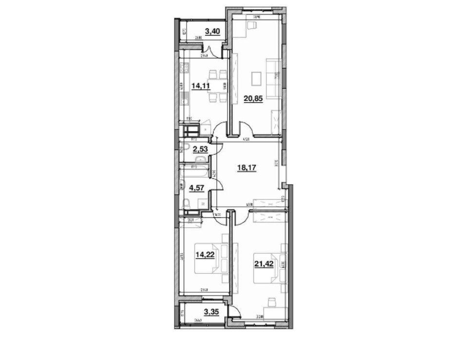 Планування 3-кімнатної квартири в ЖК Львівська Площа 101.74 м², фото 212834