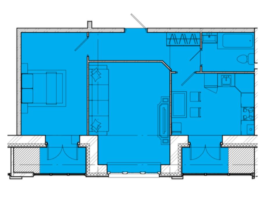 Планування 2-кімнатної квартири в ЖК Дніпровська Рів'єра 58.02 м², фото 212856