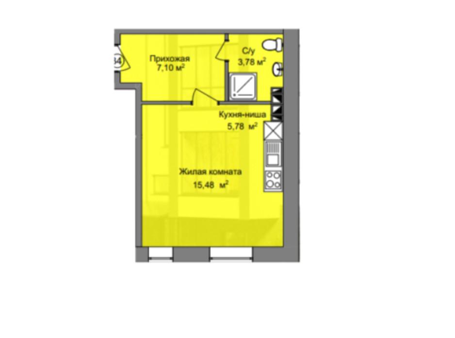Планировка 1-комнатной квартиры в КД Березинский 27.6 м², фото 212888