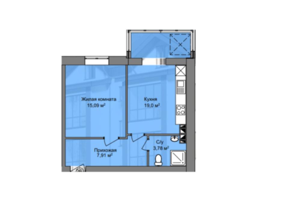 Планування 1-кімнатної квартири в КБ Березинський 45.78 м², фото 212892