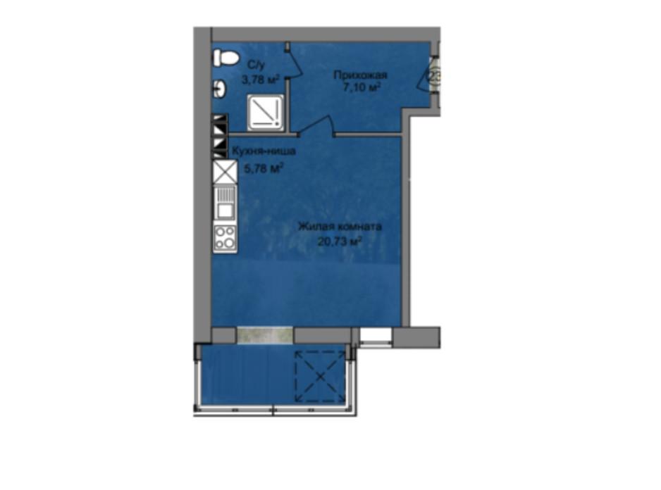 Планировка 1-комнатной квартиры в КД Березинский 37.39 м², фото 212893