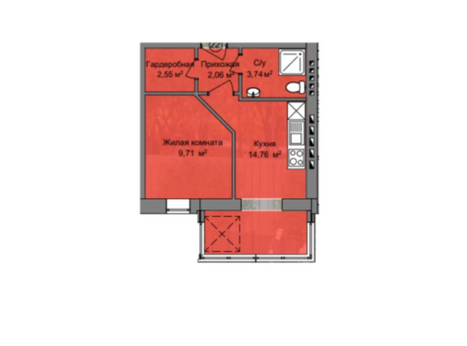 Планировка 1-комнатной квартиры в КД Березинский 32.85 м², фото 212894