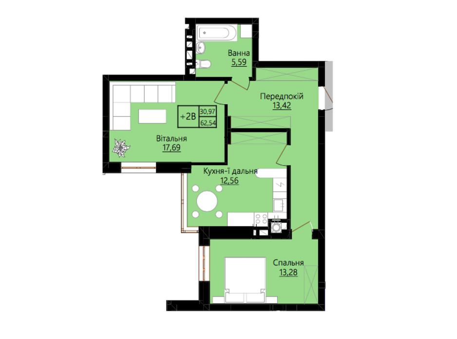 Планировка 2-комнатной квартиры в ЖК Prestige Hall 68 м², фото 213699