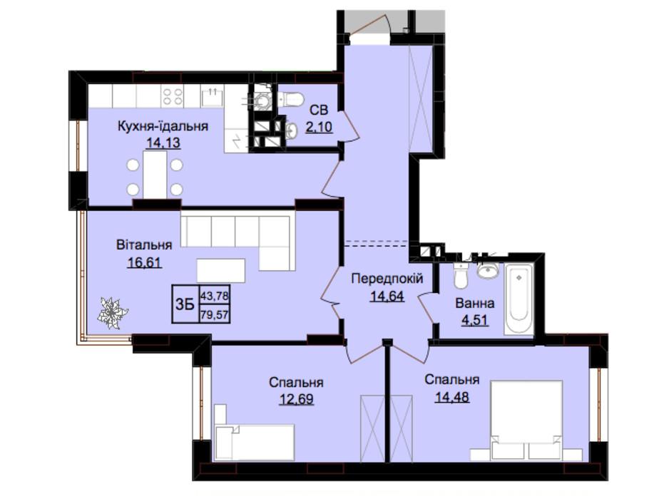 Планировка 3-комнатной квартиры в ЖК Prestige Hall 84 м², фото 213702