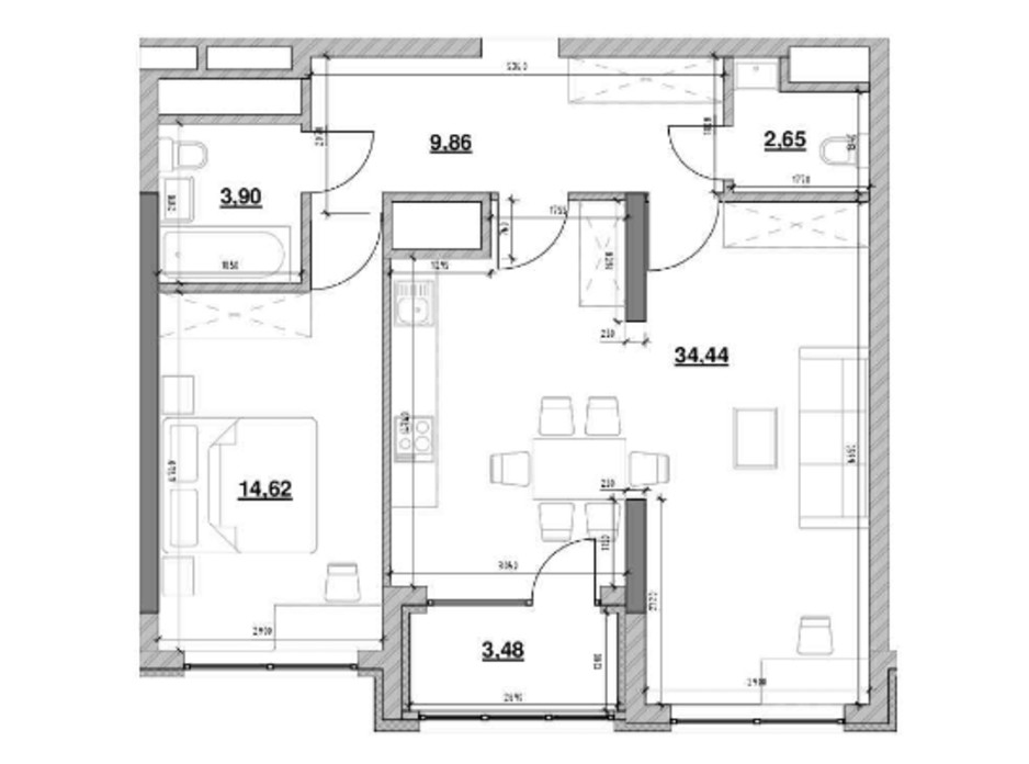 Планировка 1-комнатной квартиры в ЖК Nordica Residence 68.97 м², фото 213729