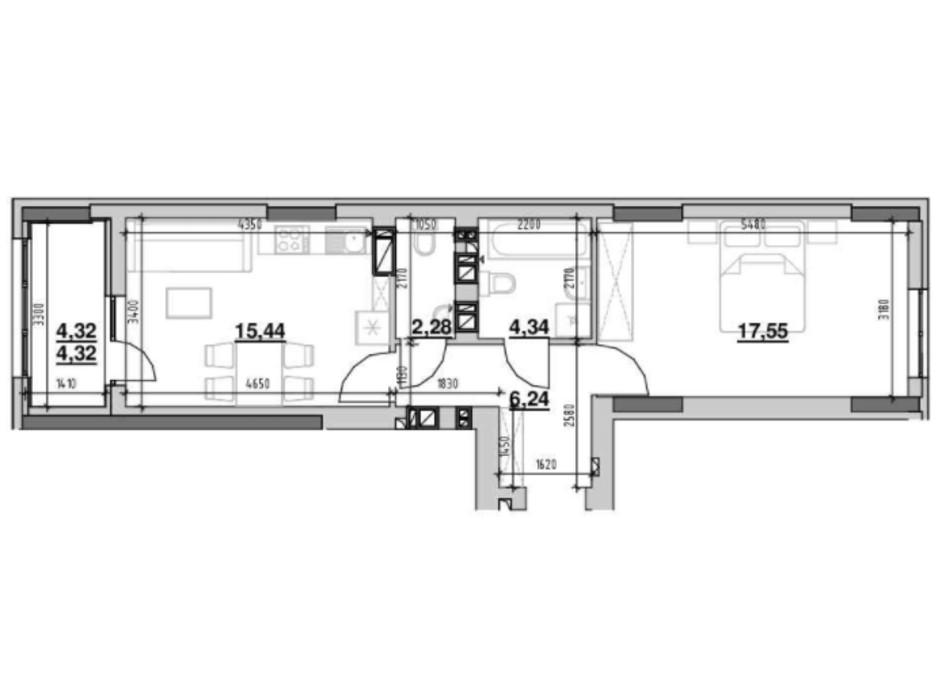 Планування 1-кімнатної квартири в ЖК Ріел Сіті 50.17 м², фото 213985