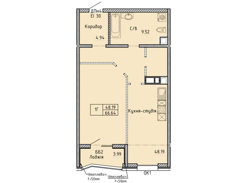 Планування 1-кімнатної квартири в ЖК Олімпійский 66.64 м², фото 214044
