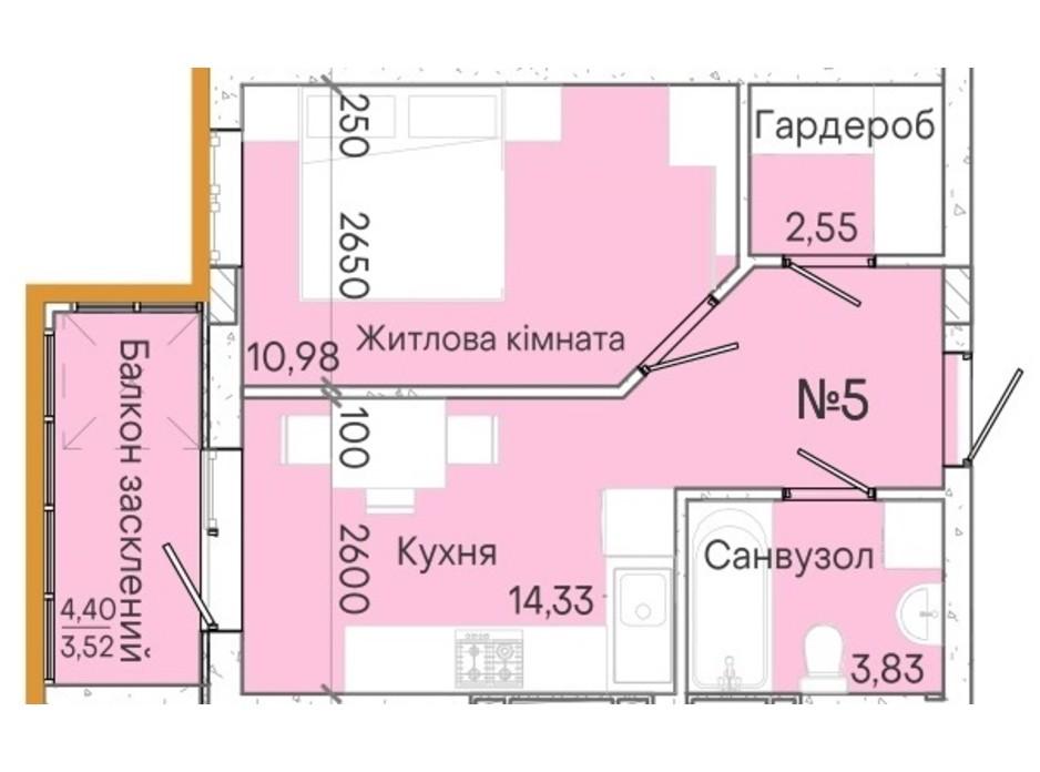 Планування 1-кімнатної квартири в ЖК Акварель 7 35.11 м², фото 214079
