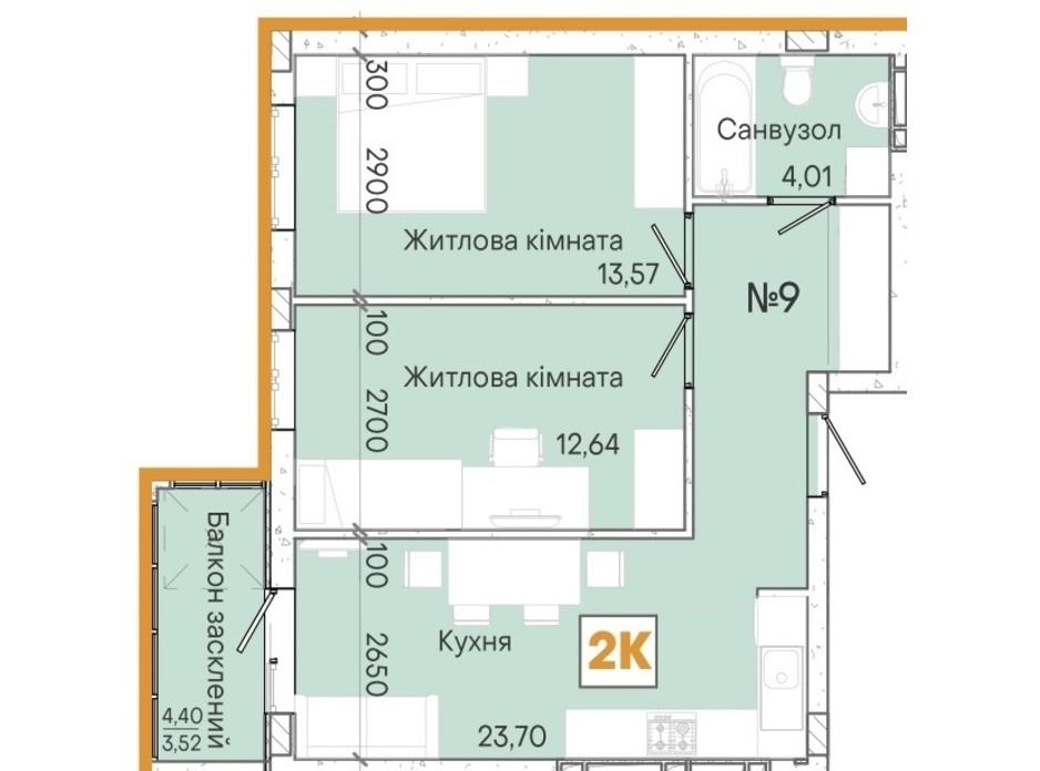 Планировка 2-комнатной квартиры в ЖК Акварель 7 57.2 м², фото 214080