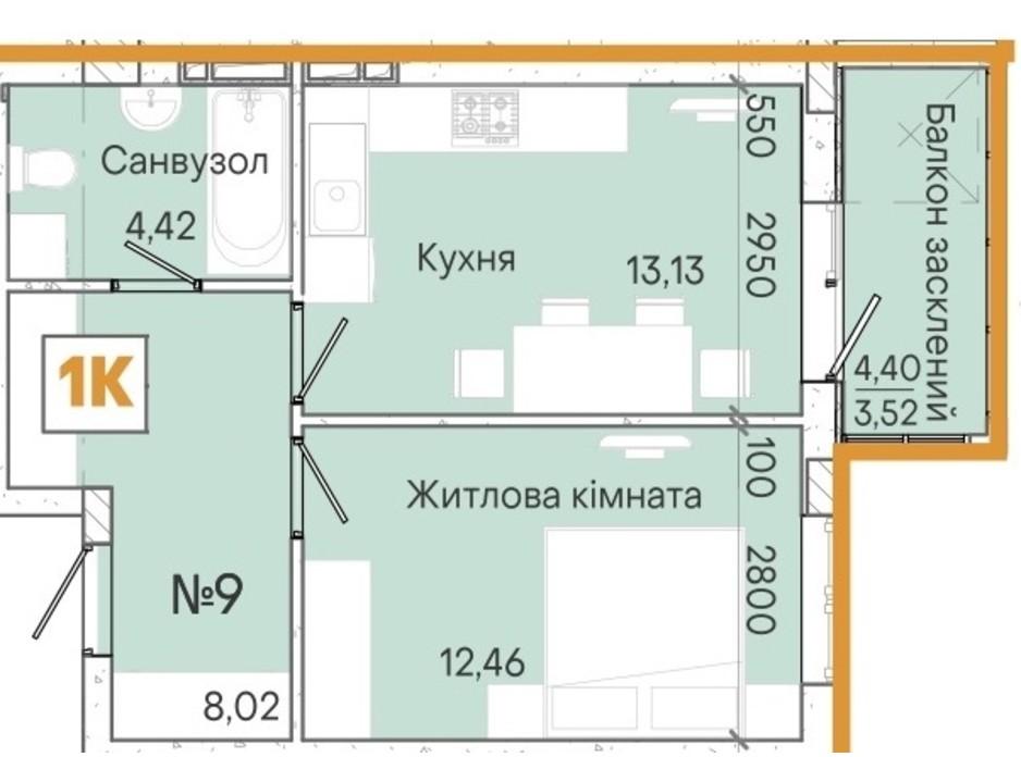 Планування 1-кімнатної квартири в ЖК Акварель 7 41.1 м², фото 214101