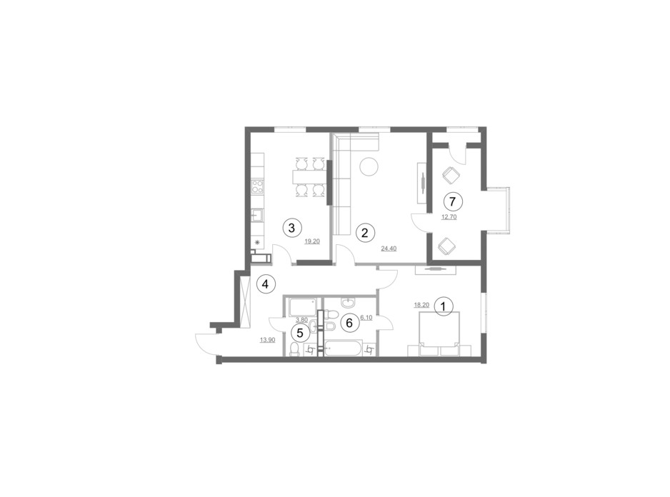 Планировка 2-комнатной квартиры в ЖК Greenville Park Kyiv 98.3 м², фото 214286