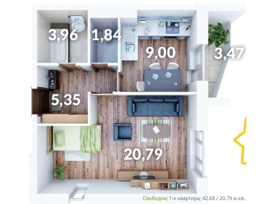 Планування 1-кімнатної квартири в ЖК Северний 42.68 м², фото 214457