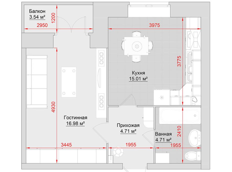 Планування 1-кімнатної квартири в ЖК по вул. Троїцька, 74 45 м², фото 214674