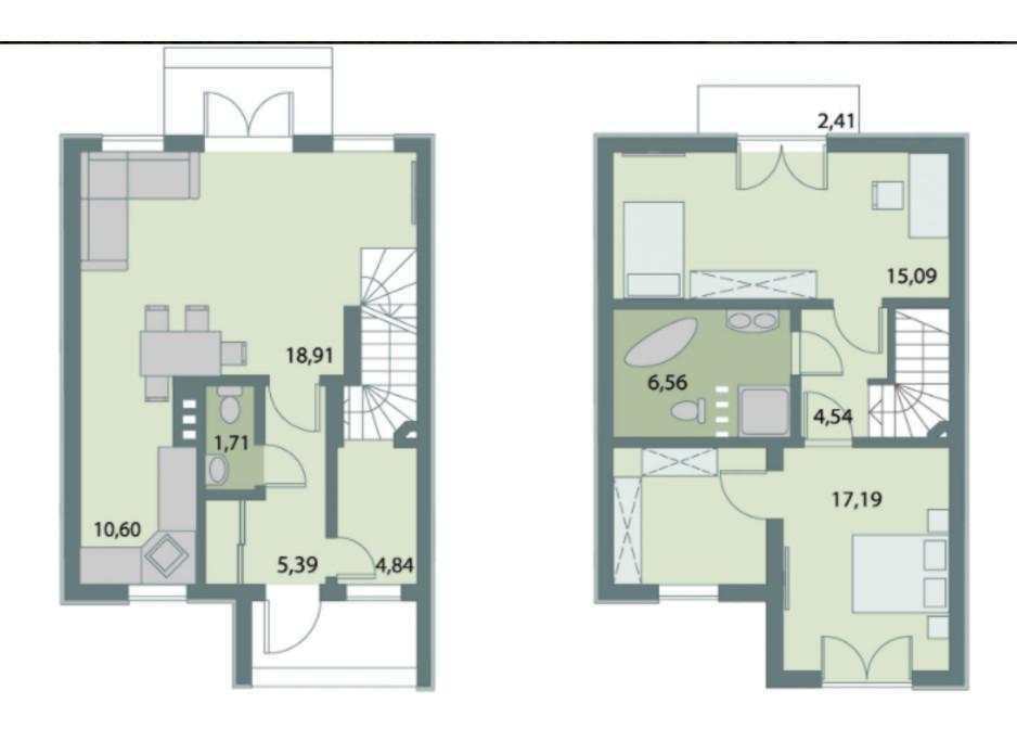 Планировка дуплекса в Коттеджный городок Счастливый Хуторок 87.2 м², фото 214786