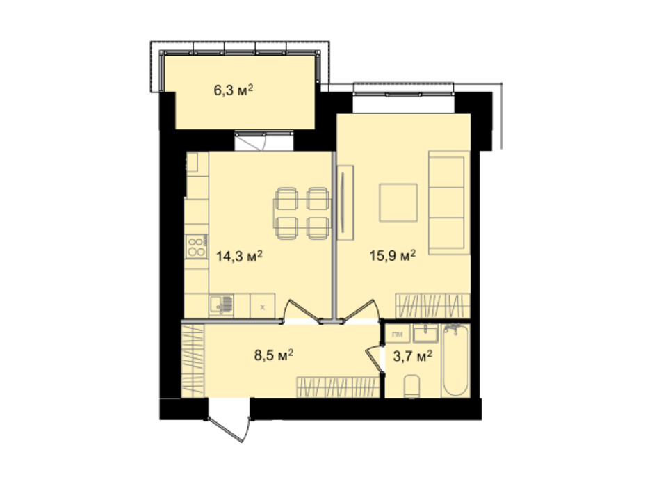 Планировка 1-комнатной квартиры в ЖК Barbara 48.7 м², фото 214802