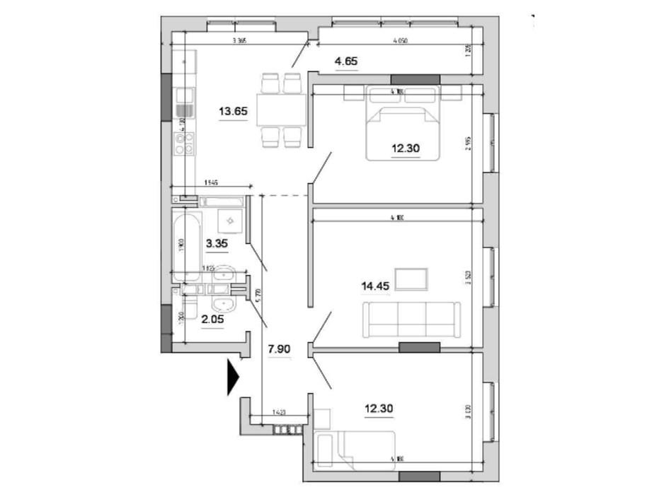 Планировка 3-комнатной квартиры в ЖК Forward (Форвард) 70.65 м², фото 214832