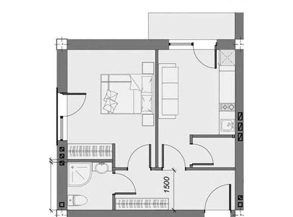 Планування 1-кімнатної квартири в ЖК Arena Village 39 м², фото 214836